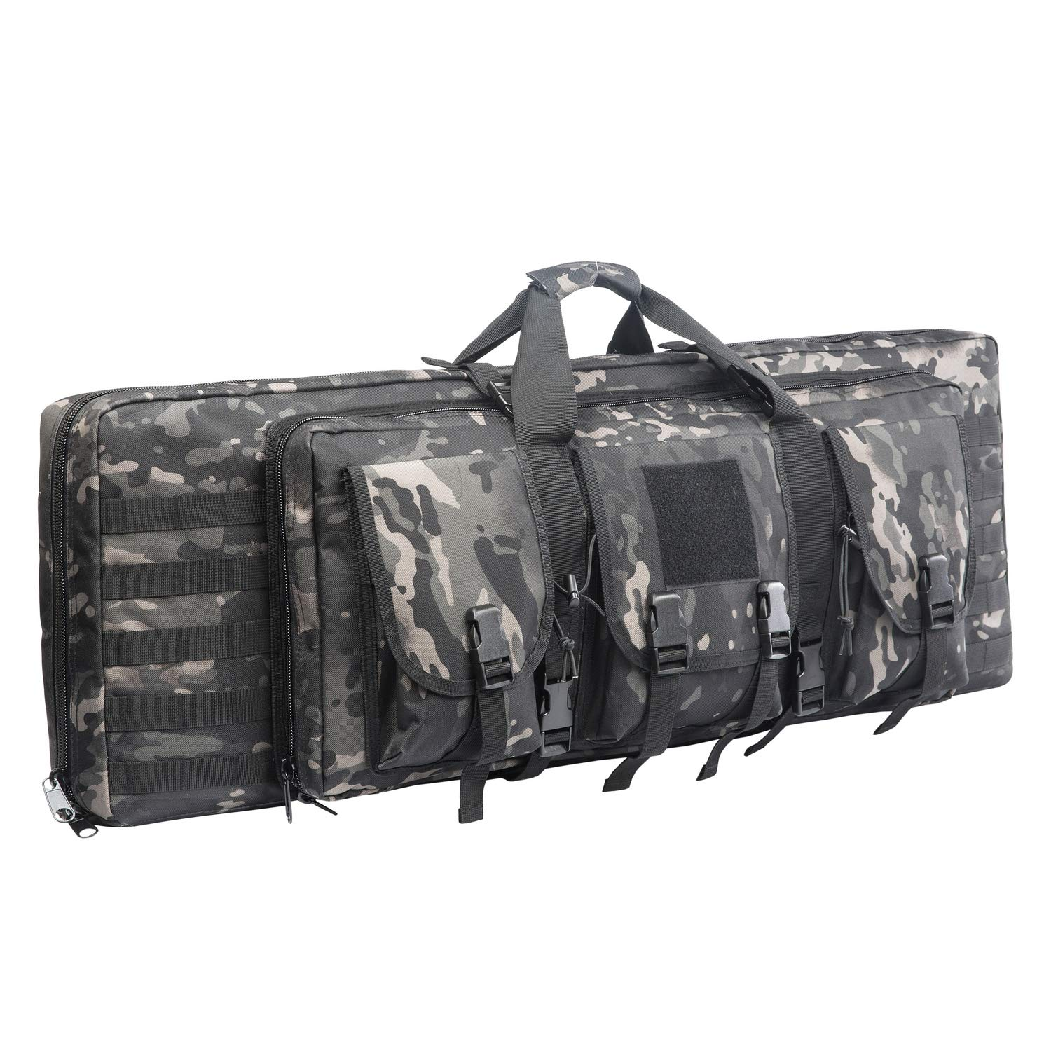 AK47/AR16 Tactical Rifle Case Double Carbine Bag Outdoor Molle Deluxe Double Rifle Gun Bag Padded Long Gun Case & Rifle Storage Backpack(2 Sizes and 6 Colors to chooese from) (BLACK MULTICAM, 38inch) by XWLSPORT