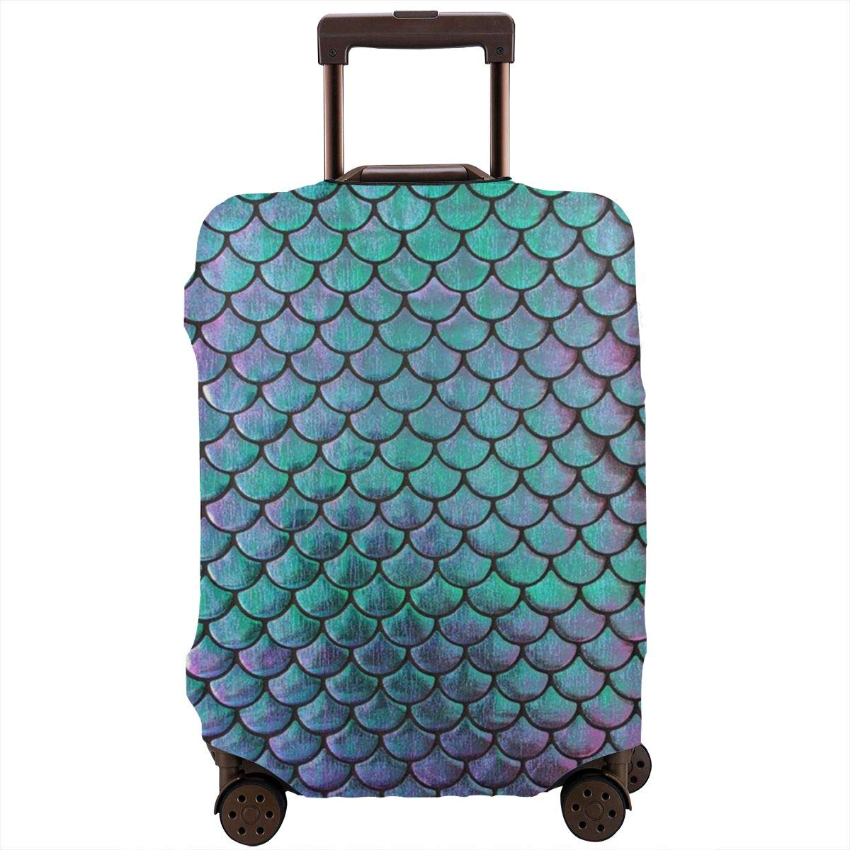 Tlkkkd_N Mermaid Metallic Scales Turquoise and Purple Travel Luggage Cover Anti-Scratch Baggage Suitcase Protector Cover Fits 18-32 Inch