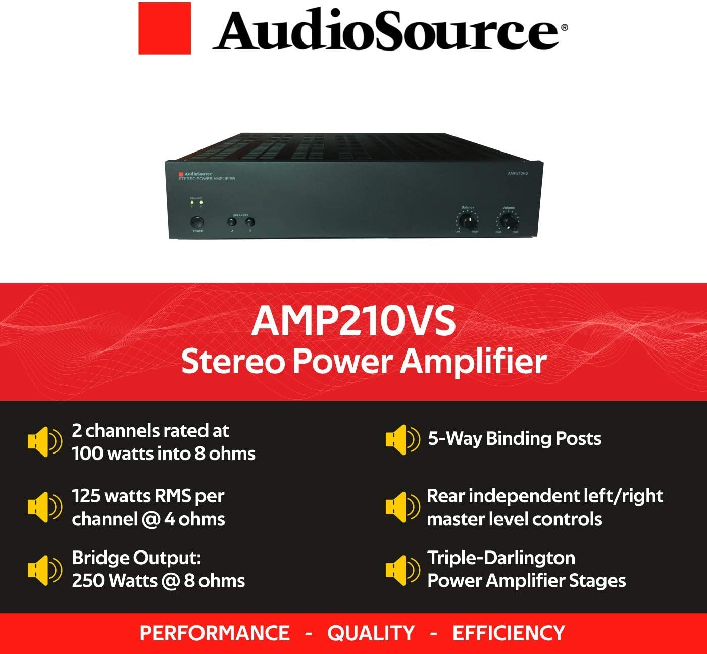 AudioSource Analog Amplifier, Stereo Power A Amplifier AMP210VS for Home Sound Systems