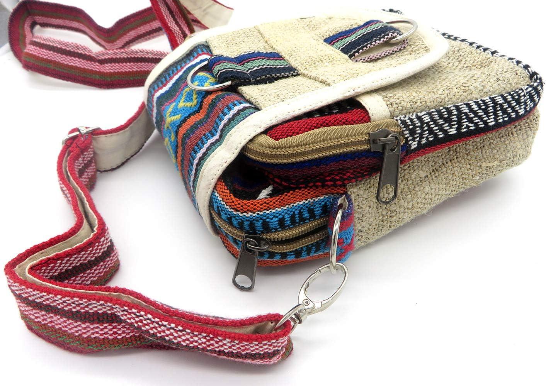 Bolso Bandolera de C/á/ñamo Estilo Hippie Rasta Etnico Tribal Urbano Casual Multicolor Dise/ño Unisex Hombre Mujer tama/ño peque/ño