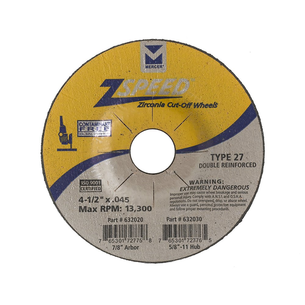 Mercer Industries 632020 Type 27 Zspeed Zirconia Cut-Off Wheel, Double Reinforced, Ferrous Metals & Stainless Steel, 4-1/2'' x .045 x 7/8'', 50 Pack