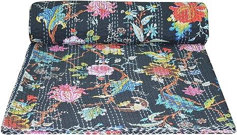 Indian Handmade Floral Kantha Quilt Throw Bedspread Bedspread Cotton Blanket