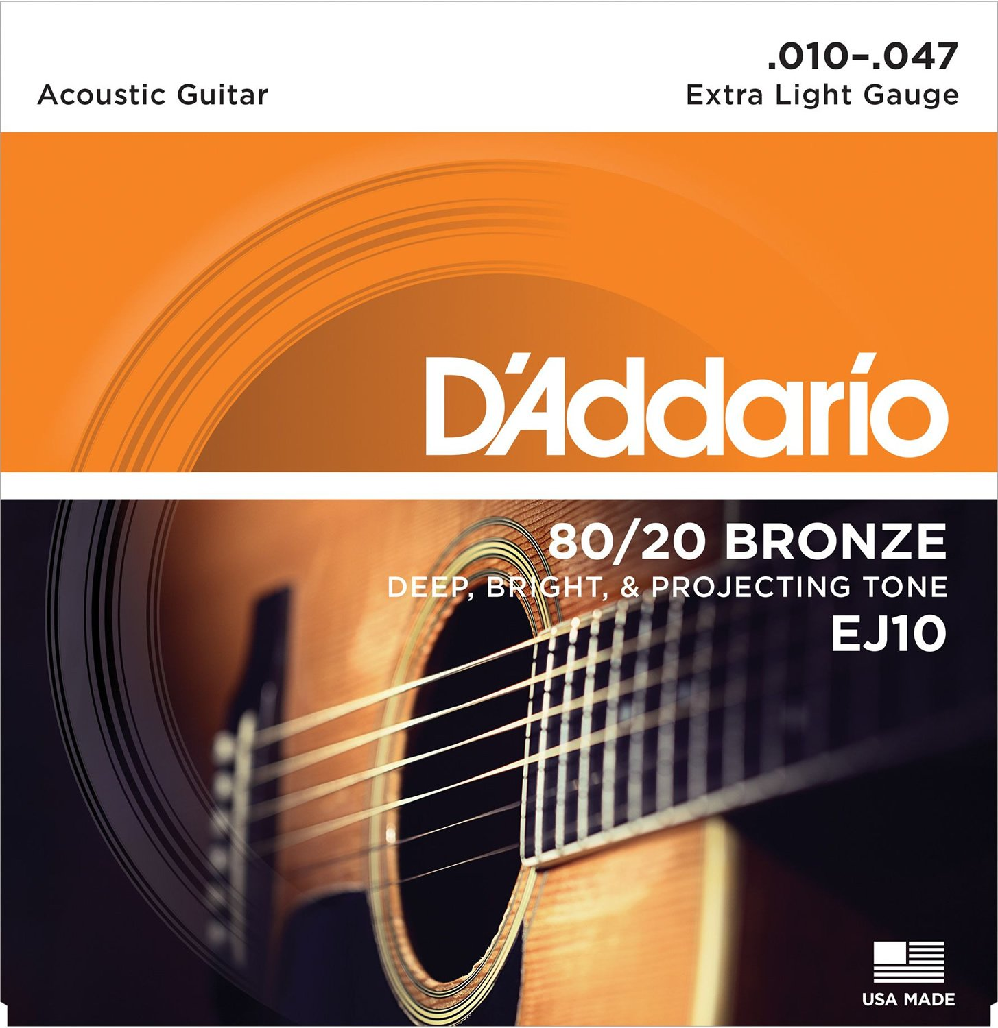 D'Addario EJ10 Bronze Acoustic Guitar Strings, Extra Light, 10-47 D' Addario