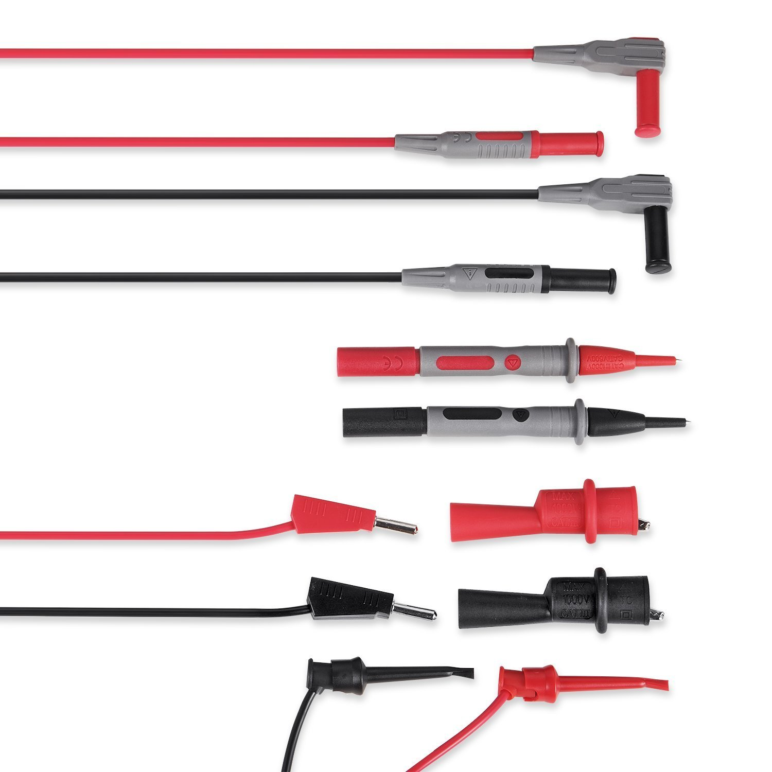AstroAI Multimeter Electronic Test Leads Kit with Alligator Clips and Plunger Mini Hooks, Probes Upgraded To CAT IV by AstroAI
