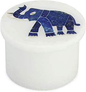 Queenza Salt Cellar with Lid Box – Blue Lapis Lazuli Gems Stone Inlay Elephant Figurine Decorative Marble Ring Boxes – Ecofriendly Storage for Spices Pepper Seasonings Condiment Pot Keeper
