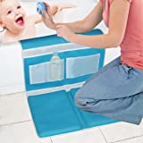 Bath Kneeler - Large Bath Knee Mat and Elbow Rest with Toy Organizer - Detachable and Foldable Kneeling Pad for Baby Bath, Garden Work, Exercise or Yoga - Child Bath Tub Padding for Parents - Blue