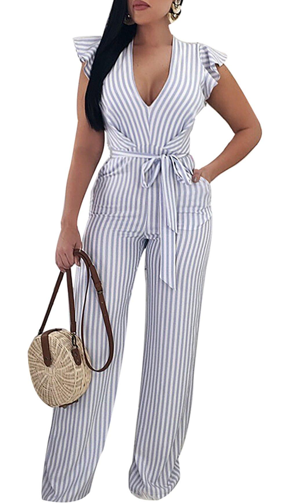 Voghtic Women Sexy Deep V Neck Ruffle Sleeve Stripe Jumpsuit High Waist Long Pants Jumpsuits Romer with Belt