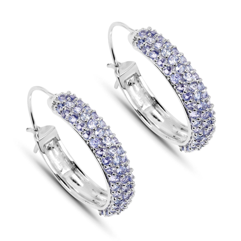 Amazon Johareez Tanzanite Hoop Earrings in Sterling Silver Jewelry