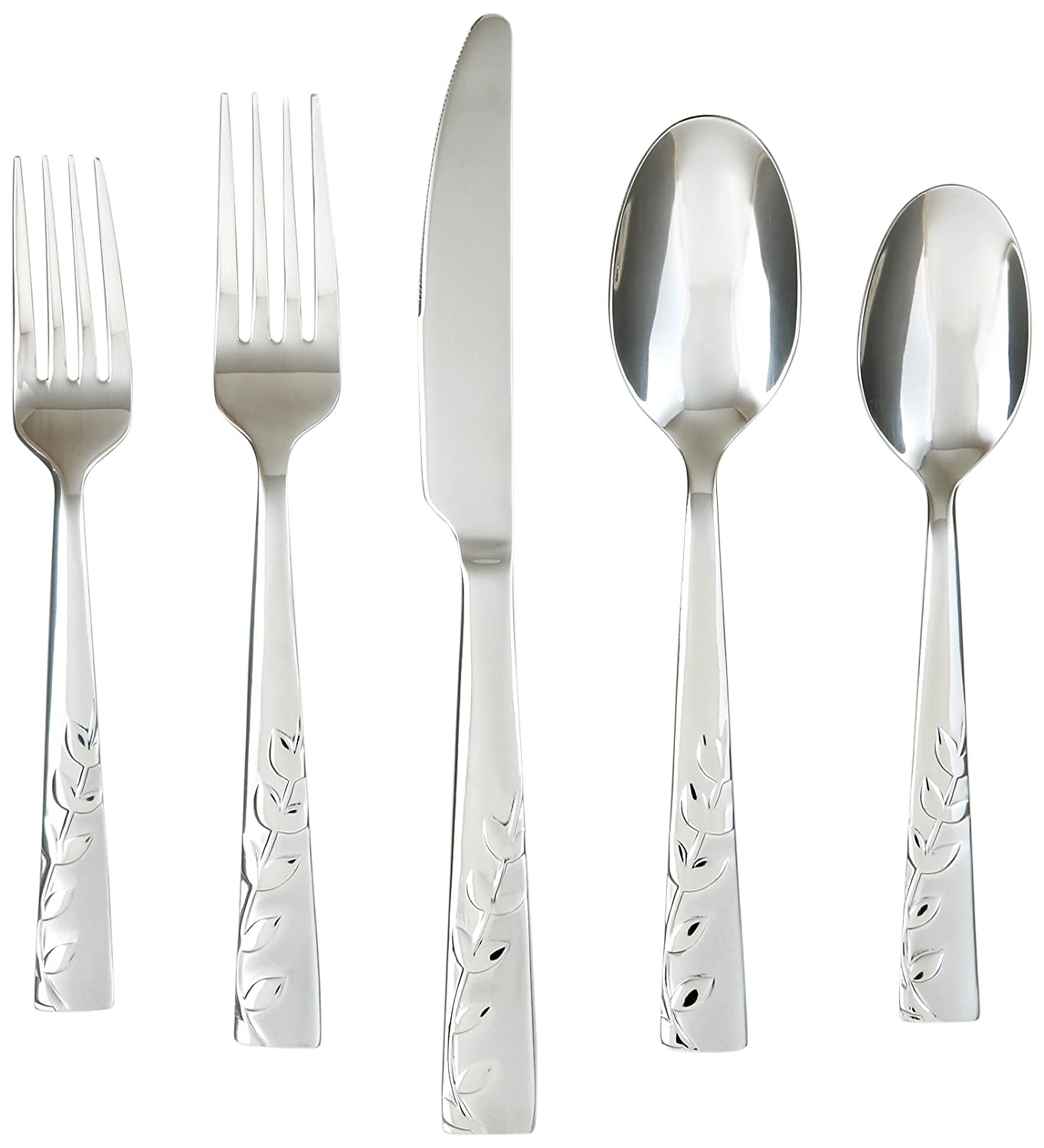 Amazon.com: Cambridge Silversmiths Blossom Sand 20-Piece Flatware Set, Service for 4 - Pack of 2: Kitchen & Dining