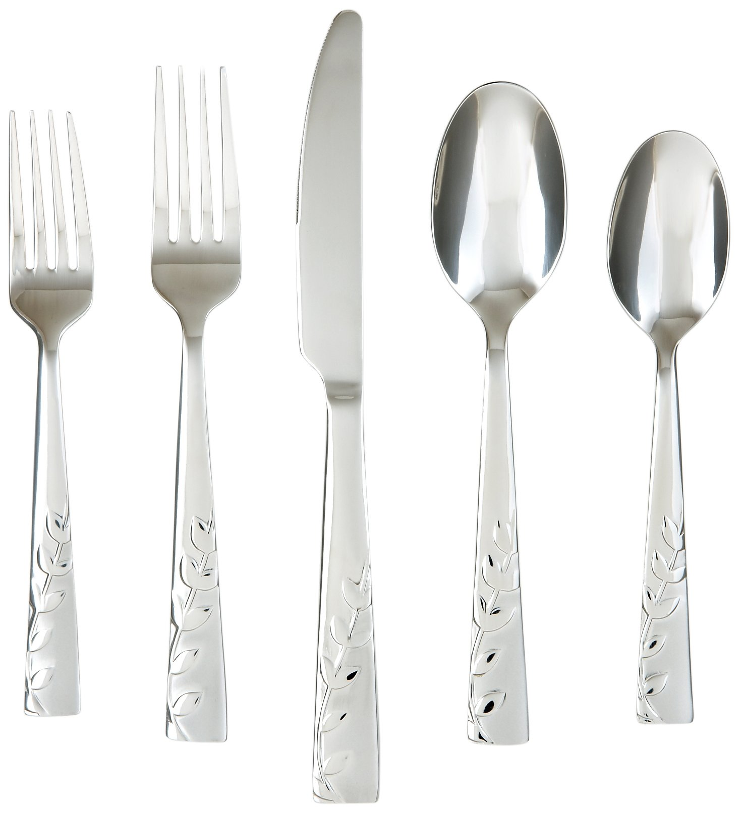 Cambridge Silversmiths 268320R Blossom Sand 20-Piece Flatware Silverware Set, Service for 4, Stainless Steel, Includes Forks/Knives/Spoons, Brushed Finish - SILVERWARE SET SERVICE FOR 4: Silverware Set Includes 4 salad forks, 4 dinner forks, 4 teaspoons, 4 tablespoons, 4 butter knives STAINLESS STEEL: This silverware set is made of very high quality 18/0 stainless steel. BRUSHED FINISH: The flatware set has a brushed finish which makes it ideal for everyday use - kitchen-tabletop, kitchen-dining-room, flatware - 71GFr4wMfnL -
