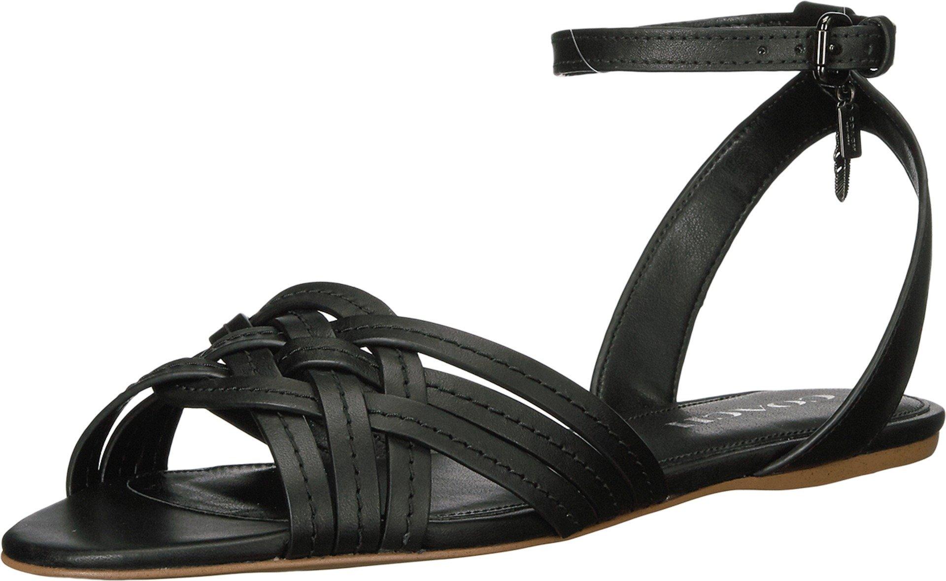 COACH Women's Summers Black Semi Matte Calf Sandal