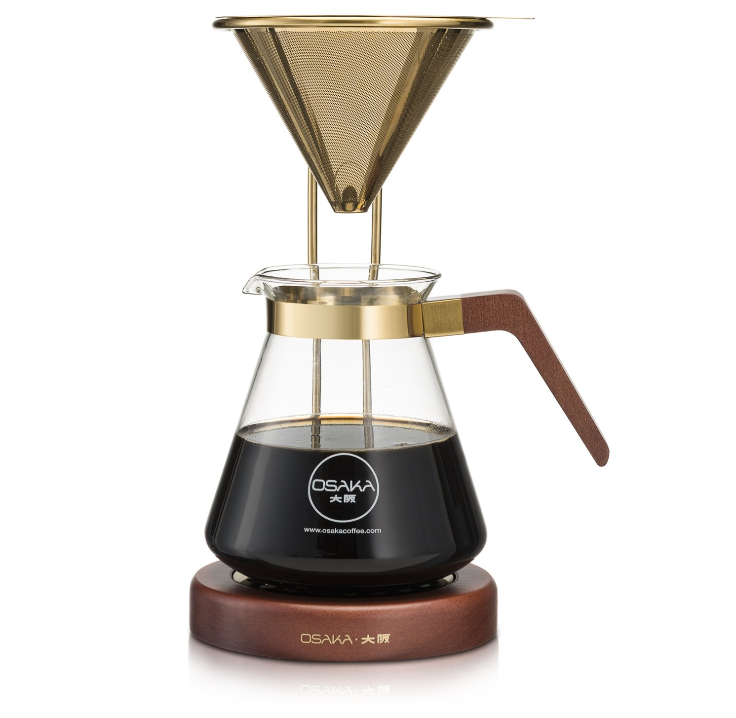 Osaka, Pour Over Coffee Brewer – Large Capacity, Pourover Coffee Maker With Titanium Coated Gold Filter And Wood Stand – Complete Set Needed To Brew Pour-Over Coffee – 6 Cups, (30oz./900ml) Capacity