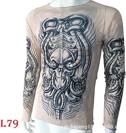 tzxdbh Tatuaje Tatuaje Camiseta de Manga Larga Camisa de Mujer con Estampado Digital Camisa de Fondo Festival de música Disfraz L79 机械 脸 170CM-182CM 60KG-110KG: Amazon.es: Hogar