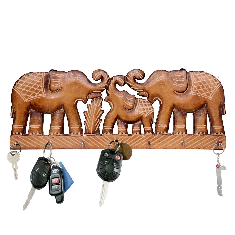 WILLART Handicraft Wooden Wall Décor Wall Hanging Elephant Design Key Holder Home Décor Home Furnishing (Key Holder Hooks : 7) : Dimension - 15.5 Inch X 6 Inch X 0.75 Inch