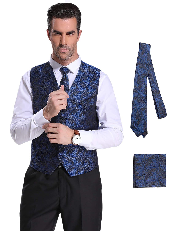 Herren Anzugweste & Krawatte & Taschentücher 3 Stück Slim Fit Westen Set Für Anzug Business Hochzeit.