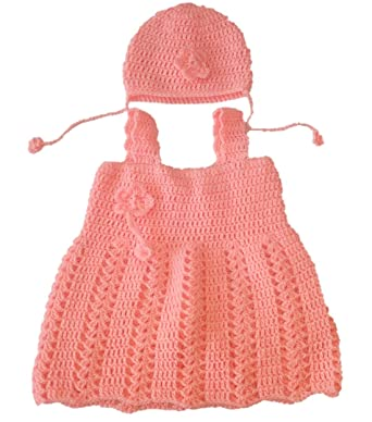 New Jain Traders - Combo of Hand Made Crochet Woolen Designer Frock   Cap  (2 Pcs Suit) for Baby Girls  Amazon.in  Clothing   Accessories 08be786a846b