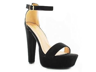 7db5da2501e Chockers Shoes® Womens Ladies Metallic Faux Suede Platform High Block Heel  with Ankle Strap Open Toe Sandal  Amazon.co.uk  Shoes   Bags