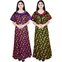 Silver Organisation Girl's and Women's Cotton Night Gown with Floral Print (Multicolour, Free Size) -Combo Pack of 2