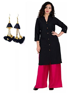 8b5cae9a57a Amazon.com: Royal Galaxy Indian Black Cotton Kurti with Rayon Pink ...