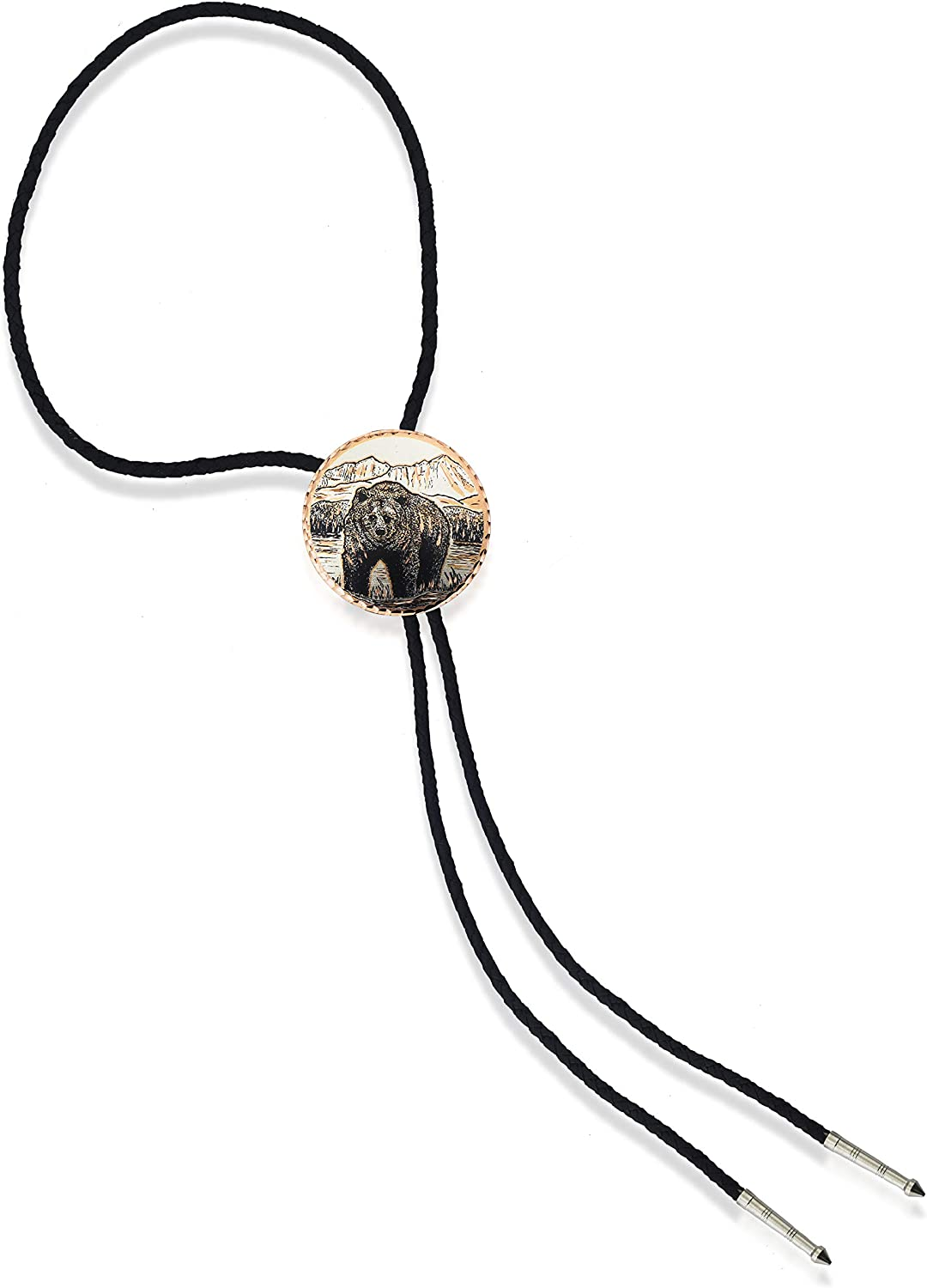 Copper Reflections Handmade Circular Shaped Bolo Ties with Wildlife Art, Bolo Tie for Men, Western Cowboy Bola Tie