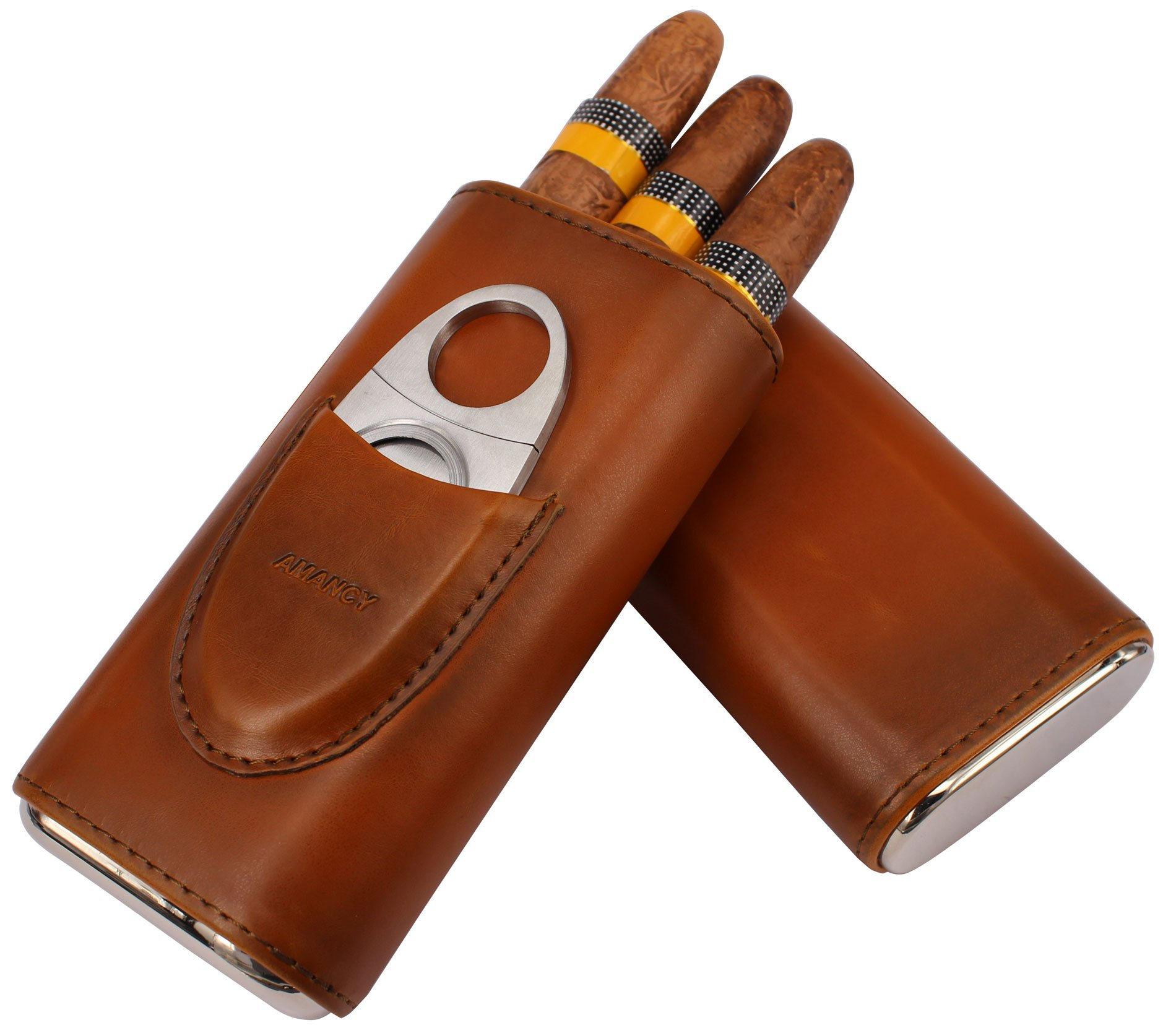 AMANCY Top Quality 3- Finger Brown Leather Cigar Case, Cedar Wood Lined Cigar Humidor with Silver Stainless Steel Cutter by AMANCY (Image #5)