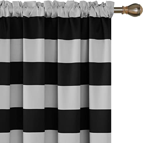 Deconovo Outlet Striped Room Darkening Curtains Rod Pocket Black And Greyish White Striped Curtains For Living Room 52w X 84l Black 2 Panel Curtains Home Kitchen