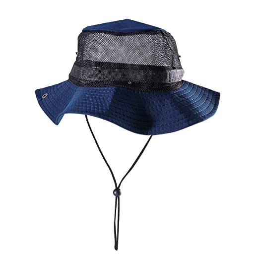 Amazon.com  Outdoor Mesh Sunshade Fisherman Fishing Hat Sun Cap Bucket Hat  with String Wide Brim Hat for Men (Navy Blue with Mesh)  Clothing c2ac71da4ed