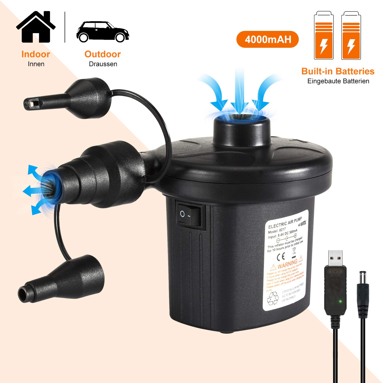 Deeplee Electric Pump Rechargeable Air Pump 4000mAh Battery for Paddling Pool Air bed Inflatables Quick-Fill Inflator Deflator 2-in-1 for Indoor Outdoor Camping