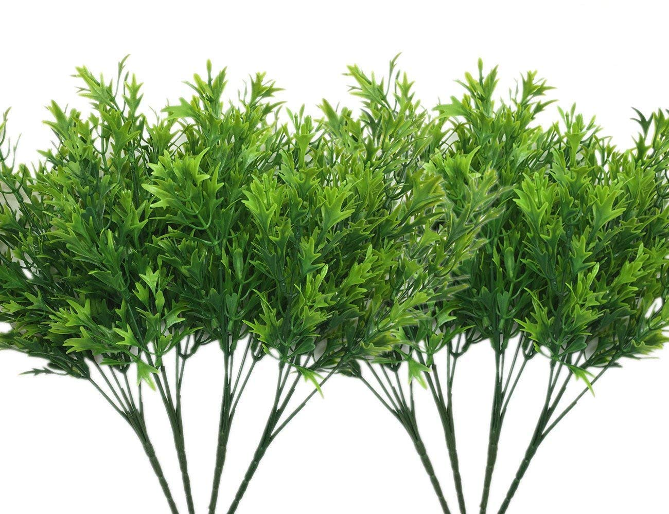 LoveniMen Artificial Shrubs, Plastic Plants Chrysanthemum Leaves Grass Simulation Fake Bushes Outdoor Indoor Home Garden Verandah Kitchen Parterre Table Centerpieces Arrangements Decoration Green 8pcs by LoveniMen (Image #1)