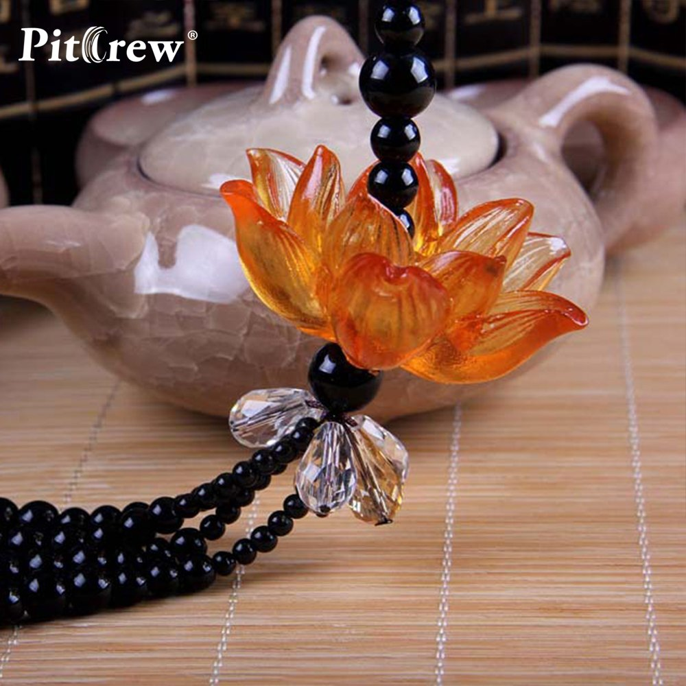 Daphot-Store - Luxury Replica Crystal Lotus Car Pendant Car Accessories Hanging Ornament For Car Rearview Mirror