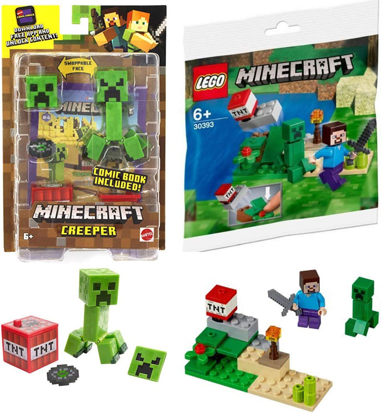 Maker Creeper Compatible with Minecraft Mini Player Set 30393 Steve Bundled with Adventure Mini Comic Book TNT Game Creator 2-Items Mine & Dig in