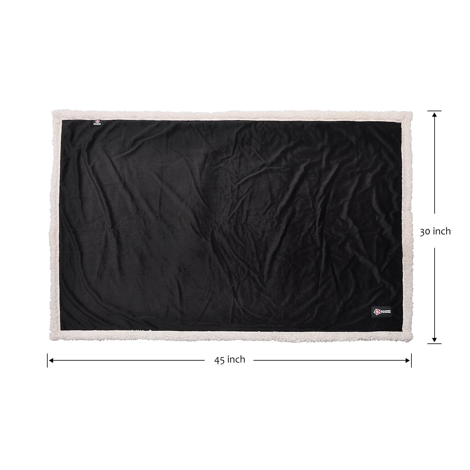 Pawsse Sherpa Pet Blanket for Puppy Kitten Bed Kennel Carrier Sleep Mat Couch Sofa, 45-Inch-by-30-Inch, Warm, Cozy, Reversible, Plush, Black