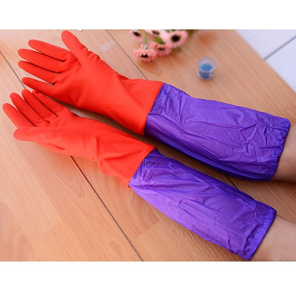 Autumn Water 1 Pair Household Waterproof Washing Up Long Sleeve Kitchen Dishes Cleaning Glove Wash dishes Anti-oil plastic gloves gloves