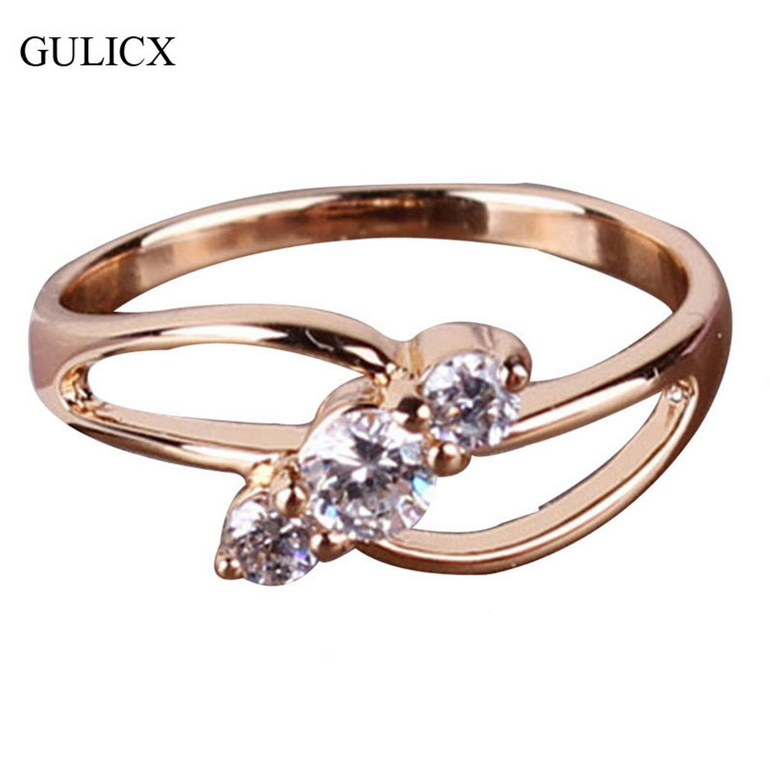 Dudee Jewelry Vintage Ring Gold Plated Finger Ring Round White Crystal Cubic Zirconia Engagement Ring Women Jewerly R029