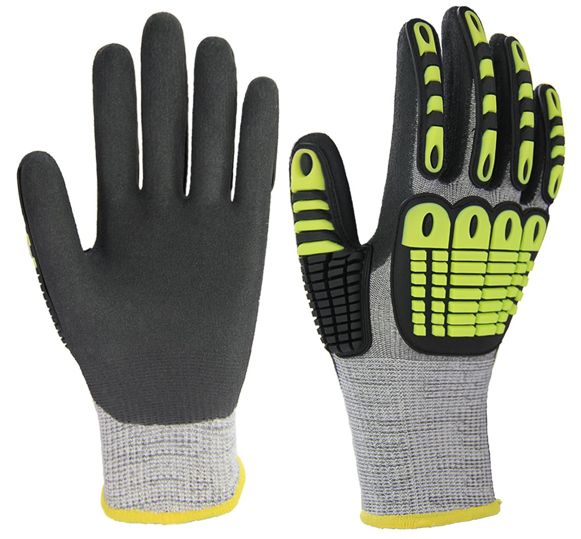 Impact Reducing Safety Gloves, Palm Nitrile Coated Grip and Proof, Cut Resistant Shell for Hand Protection, Ideal for Mechanic Garden Construction Car Repairing General Purpose Use.