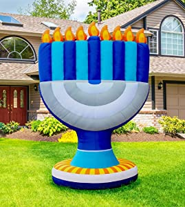 Zion Judaica Inflatable Lawn Giant Hanukkah Menorah Indoor Outdoor Decoration with LED Night Glowing Lights - 11' Tall