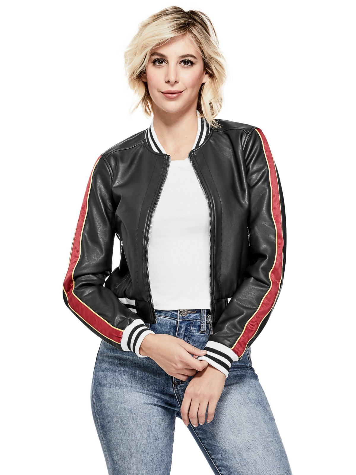 GUESS Factory Women's Corleone Faux-Leather Varsity Jacket