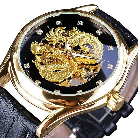 Forsining Reloj mecánico con Pantalla de Diamante de dragón Dorado, Luminoso, Transparente, de