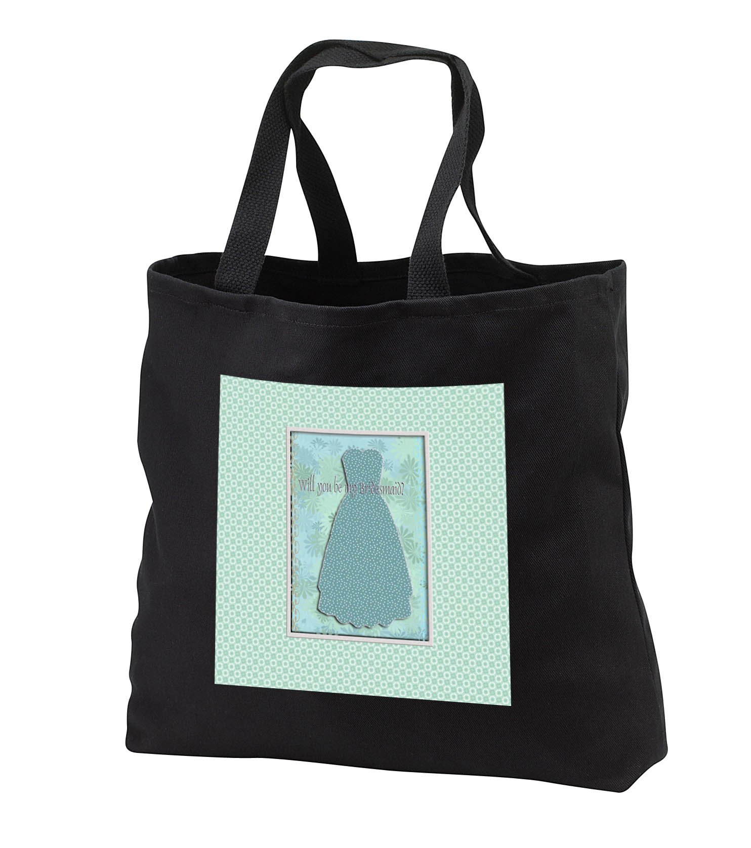 Beverly Turner Wedding Bridal Party Design - Bridesmaid Request, Dotted Green Teal Dress, Larger Dot Background - Tote Bags - Black Tote Bag 14w x 14h x 3d (tb_282210_1)