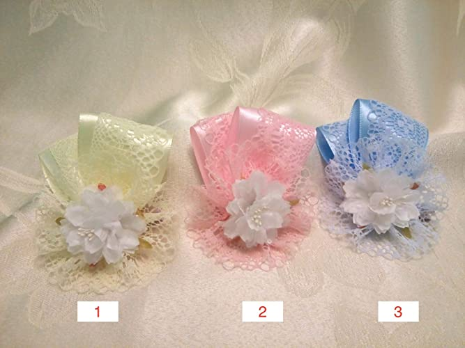 9efceac385d85 Amazon.com: Pink Blue Yellow Flowers Satin Lace Hair Bow Clip ...