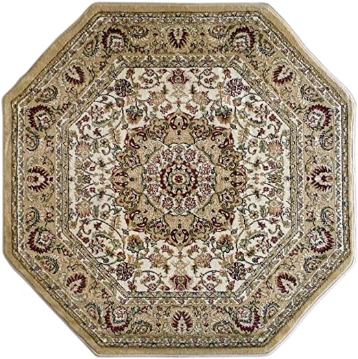 Traditional Octagon Area Rug Design Bellagio 401 Ivory 7 Feet 3 Inch x 7 Feet 3 Inch