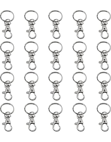 TRIXES 20 petits mousquetons détachables pivotants avec boucle et anneau de  clé a0e5b0dd4f2