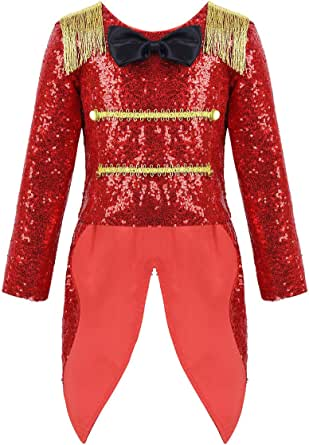 QinCiao Kids Boys Circus Ringmaster Tailcoat Show Swallowtail Blazer Jacket Halloween Cosplay Party Costume Festive Suit