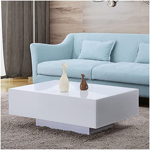 Amazon Com 33 Modern Rectangle High Glossy White Finish Coffee Table Side End Table Living Room Furniture Kitchen Dining