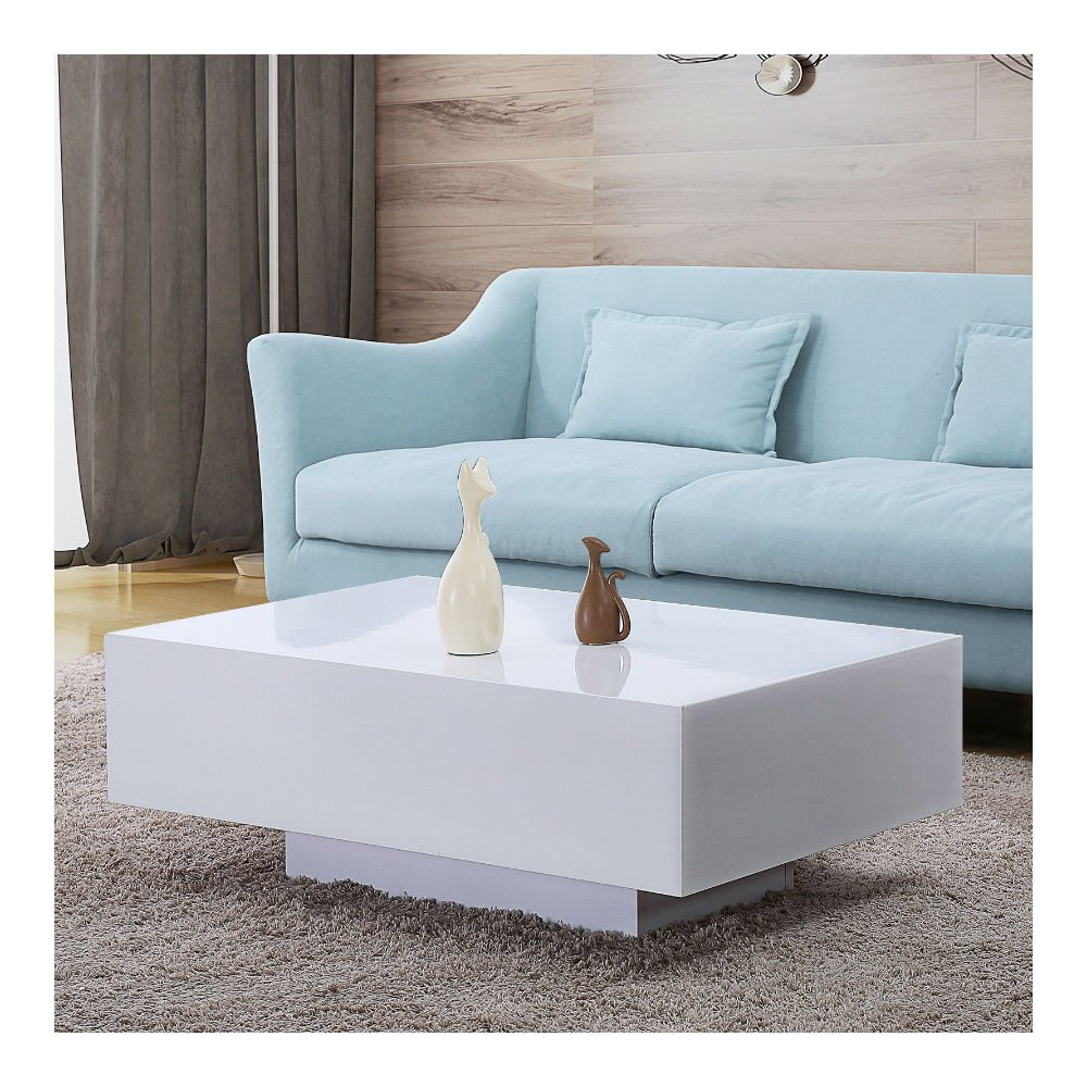 Amazon com 33 modern high gloss white coffee table side end table living room furniture kitchen dining