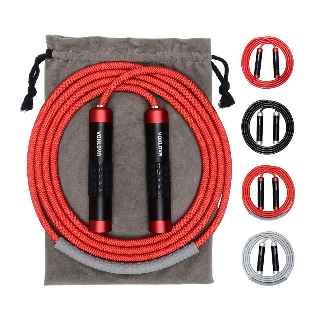 Weighted Jump Rope - Premium Heavy Jump Ropes with Adjustable Extra Thick Cable, Aluminum Silicone Grips Handles, High-Speed Ball Bearings Professional Skipping Rope for Crossfit MMA Cardio & Workouts
