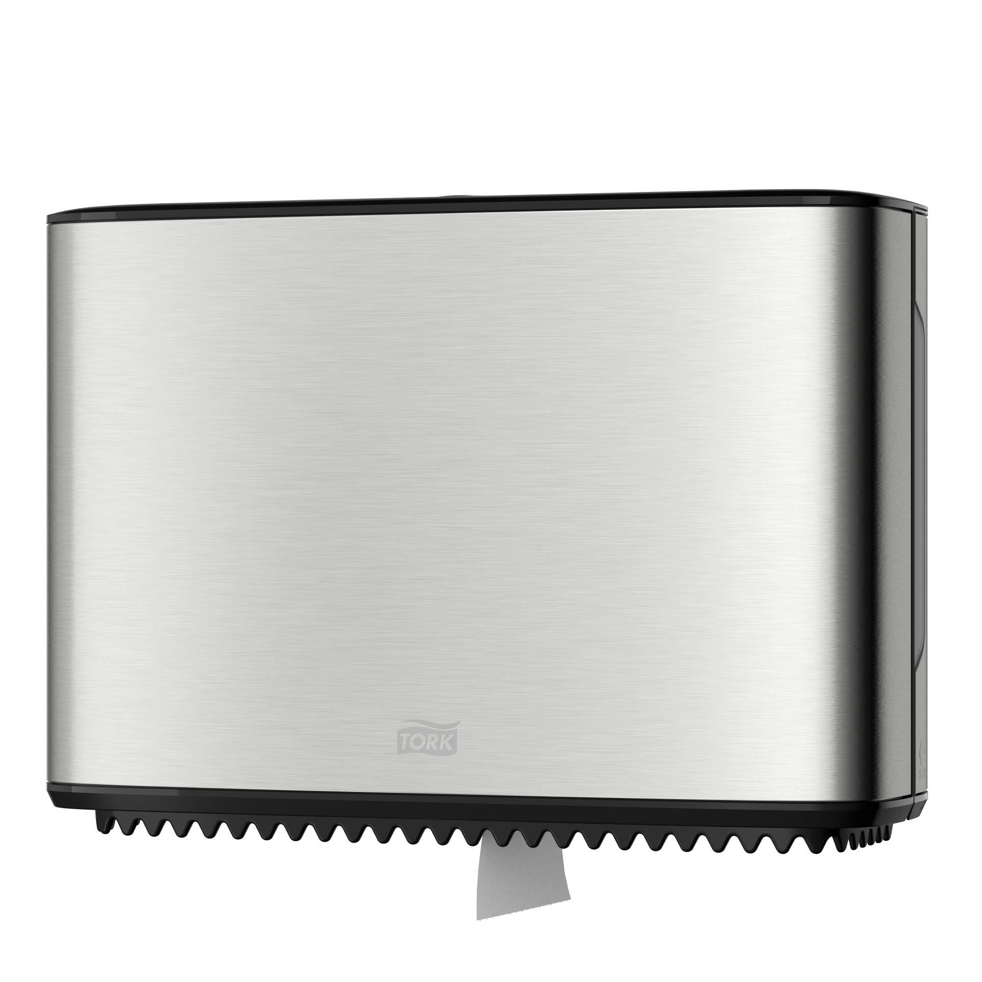 Tork 465500 Image Design Mini Jumbo Bath Tissue Roll Dispenser, 9.875'' Height x 14.0'' Width x 5.125'' Depth, Stainless Steel (Case of 1 Dispenser) For use with Tork 11020602, 12024402, 120246, 12013903
