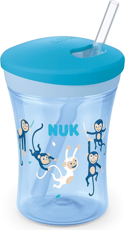 NUK 10255504 Action Cup Biber/ón con pajita suave color azul dise/ño de mono a prueba de fugas, 12 meses, sin BPA, 230 ml