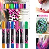Hair Chalk, Metallic Glitter Temporary Hair Color with 6 Colours for Dress Up, Performance Costumes, Halloween, Non-toxic, Washable, Works on All Hair Colors