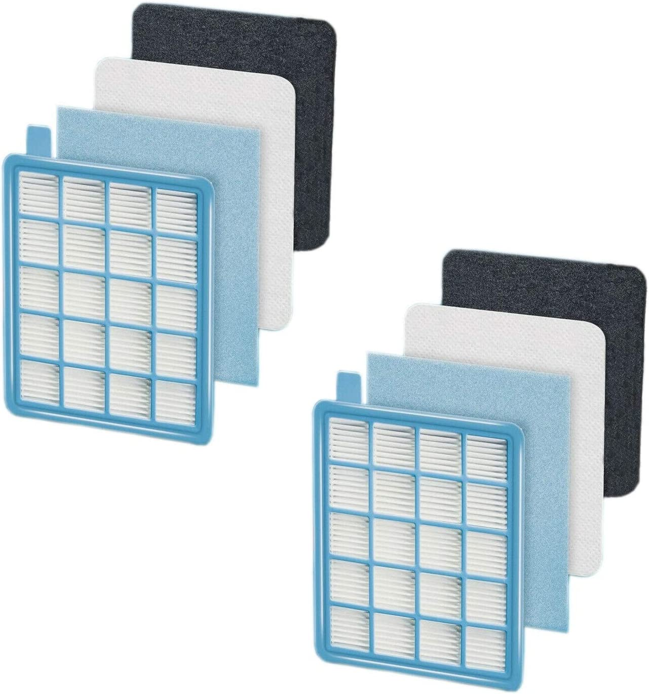 Wessper 2 Pack Replacement Filter Kit for Philips PowerPro Active and Compact Series Vacuum Cleaners replacement FC8058//01